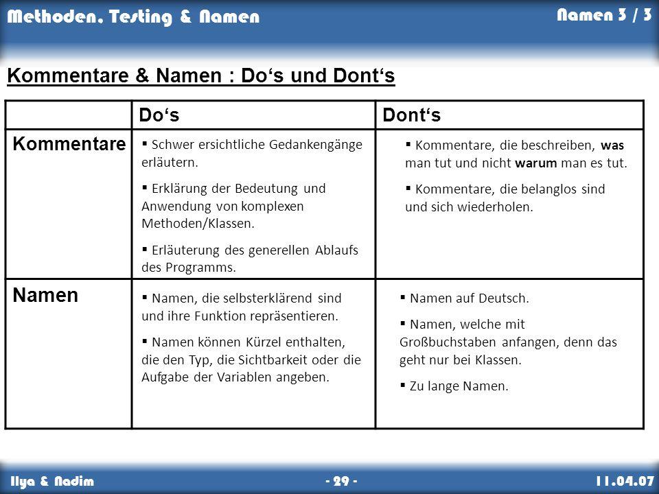 Methoden, Testing & Namen Ilya & Nadim - 29 - 11.04.07 Namen 3 / 3 DosDonts Kommentare Namen Kommentare & Namen : Dos und Donts Kommentare, die beschreiben, was man tut und nicht warum man es tut.
