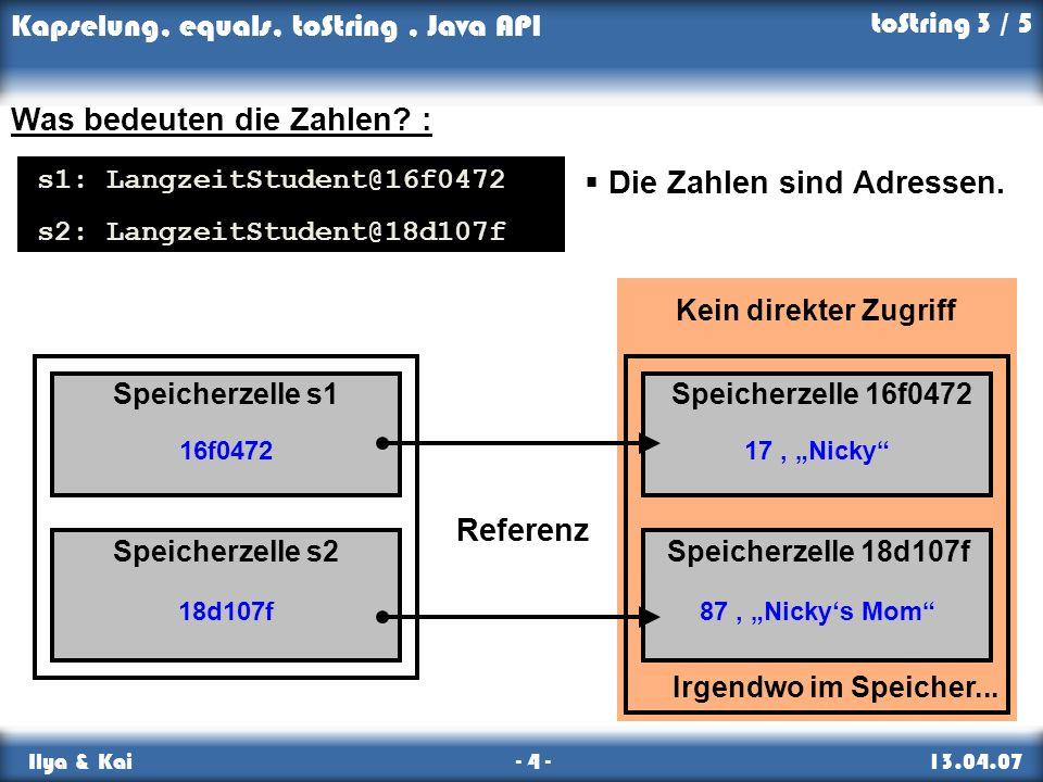 Kapselung, equals, toString, Java API Ilya & Kai - 4 - 13.04.07 Kein direkter Zugriff 17, Nicky 87, Nickys Mom Irgendwo im Speicher... 16f0472 18d107f