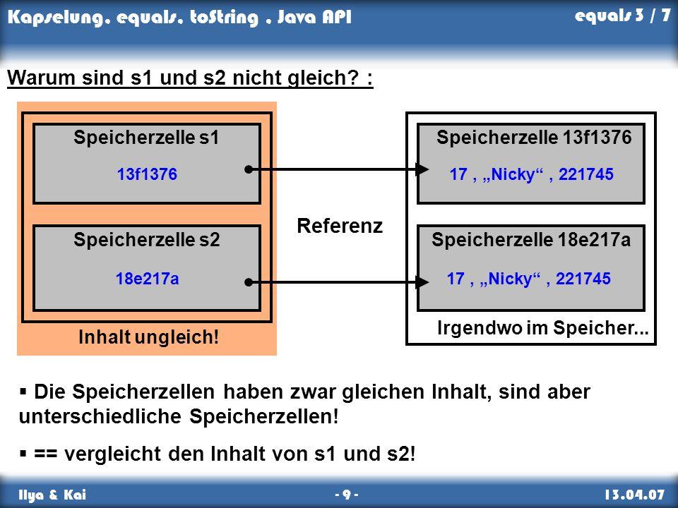 Kapselung, equals, toString, Java API Ilya & Kai - 9 - 13.04.07 Inhalt ungleich! 17, Nicky, 221745 Irgendwo im Speicher... Speicherzelle 13f1376 Speic