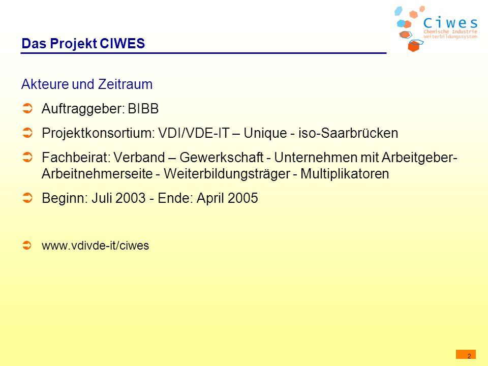 2 Das Projekt CIWES Akteure und Zeitraum Auftraggeber: BIBB Projektkonsortium: VDI/VDE-IT – Unique - iso-Saarbrücken Fachbeirat: Verband – Gewerkschaf