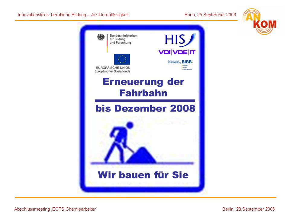 Abschlussmeeting ECTS Chemiearbeiter Berlin, 28.September 2006 bis Dezember 2008 Erneuerung der Fahrbahn Wir bauen für Sie Innovationskreis berufliche