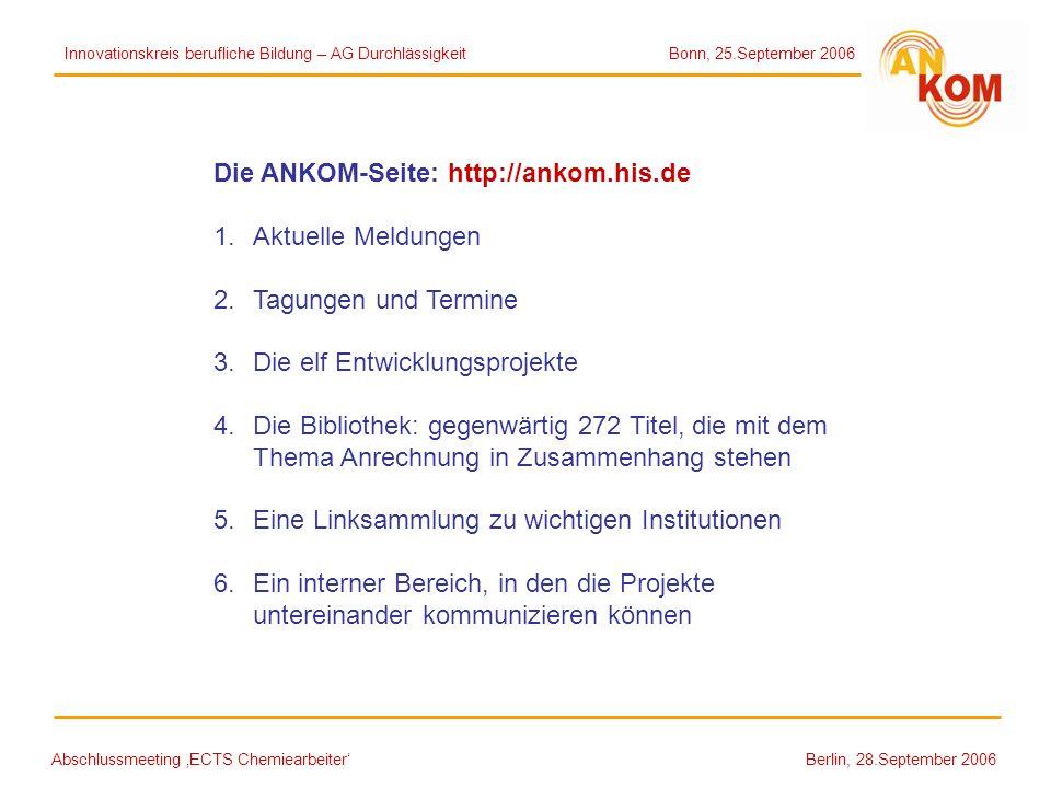 Abschlussmeeting ECTS Chemiearbeiter Berlin, 28.September 2006 Die ANKOM-Seite: http://ankom.his.de 1.Aktuelle Meldungen 2.Tagungen und Termine 3.Die