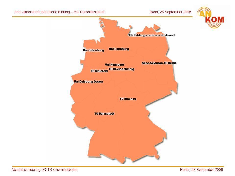 Abschlussmeeting ECTS Chemiearbeiter Berlin, 28.September 2006 Innovationskreis berufliche Bildung – AG Durchlässigkeit Bonn, 25.September 2006