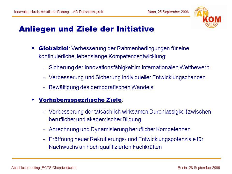 Abschlussmeeting ECTS Chemiearbeiter Berlin, 28.September 2006 Anliegen und Ziele der Initiative Globalziel : Verbesserung der Rahmenbedingungen für e