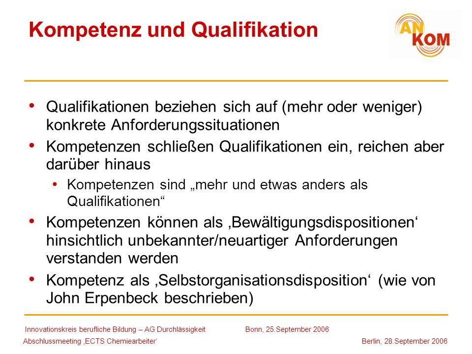 Abschlussmeeting ECTS Chemiearbeiter Berlin, 28.September 2006 Kompetenz und Qualifikation Qualifikationen beziehen sich auf (mehr oder weniger) konkr