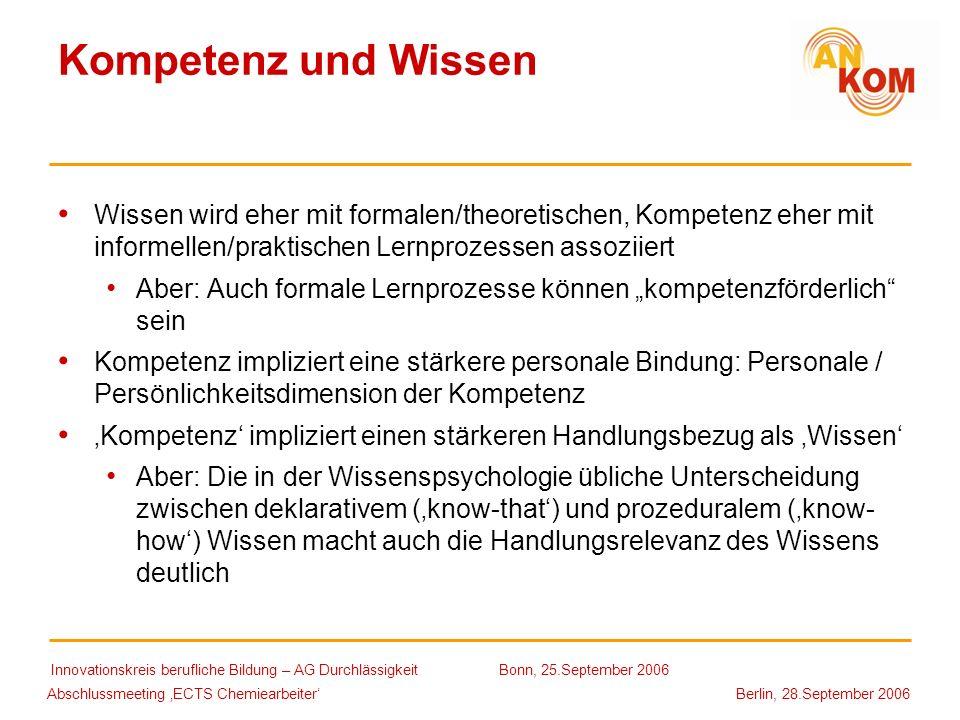 Abschlussmeeting ECTS Chemiearbeiter Berlin, 28.September 2006 Kompetenz und Wissen Wissen wird eher mit formalen/theoretischen, Kompetenz eher mit in