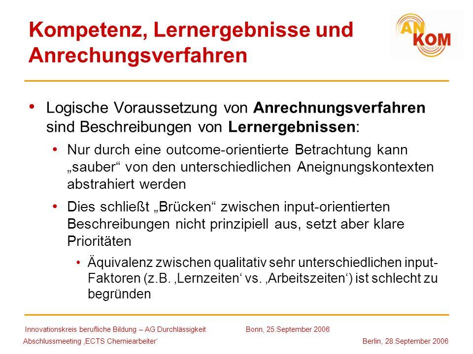 Abschlussmeeting ECTS Chemiearbeiter Berlin, 28.September 2006 Kompetenz, Lernergebnisse und Anrechungsverfahren Logische Voraussetzung von Anrechnung