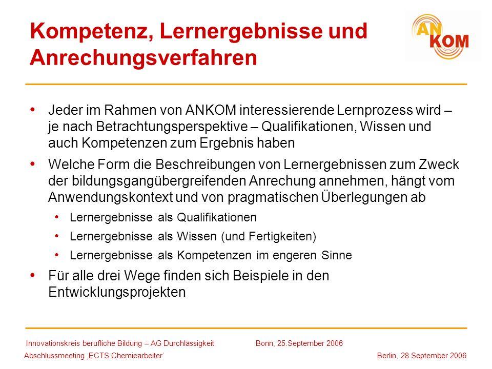 Abschlussmeeting ECTS Chemiearbeiter Berlin, 28.September 2006 Kompetenz, Lernergebnisse und Anrechungsverfahren Jeder im Rahmen von ANKOM interessier