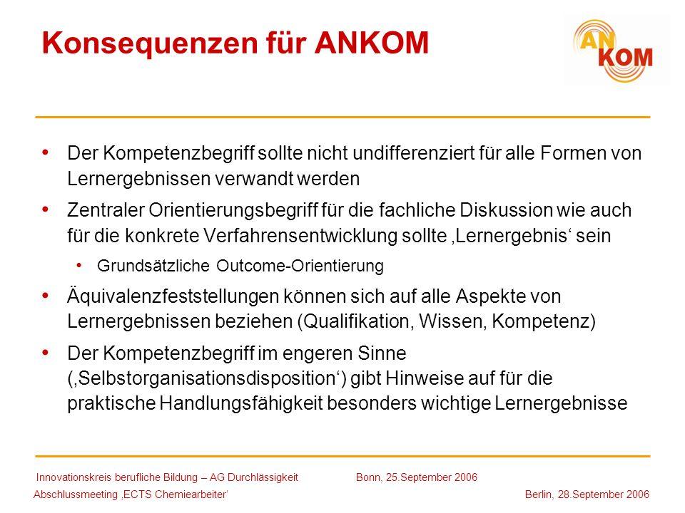 Abschlussmeeting ECTS Chemiearbeiter Berlin, 28.September 2006 Konsequenzen für ANKOM Der Kompetenzbegriff sollte nicht undifferenziert für alle Forme