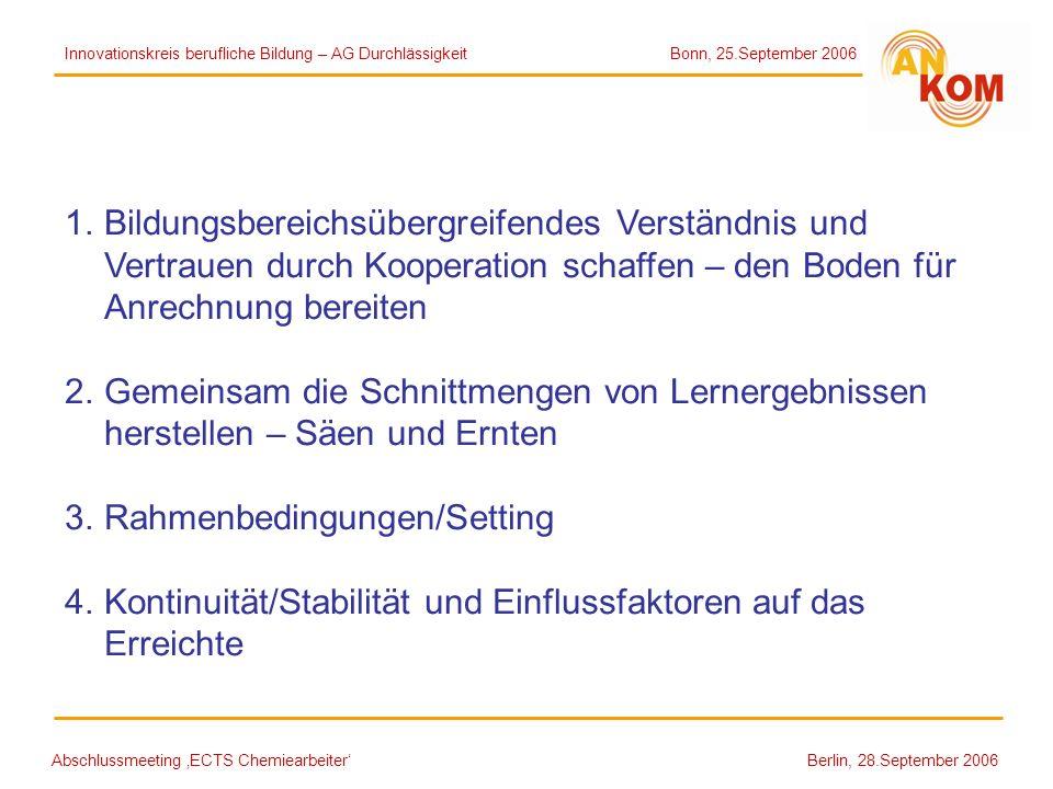Abschlussmeeting ECTS Chemiearbeiter Berlin, 28.September 2006 1.Bildungsbereichsübergreifendes Verständnis und Vertrauen durch Kooperation schaffen –