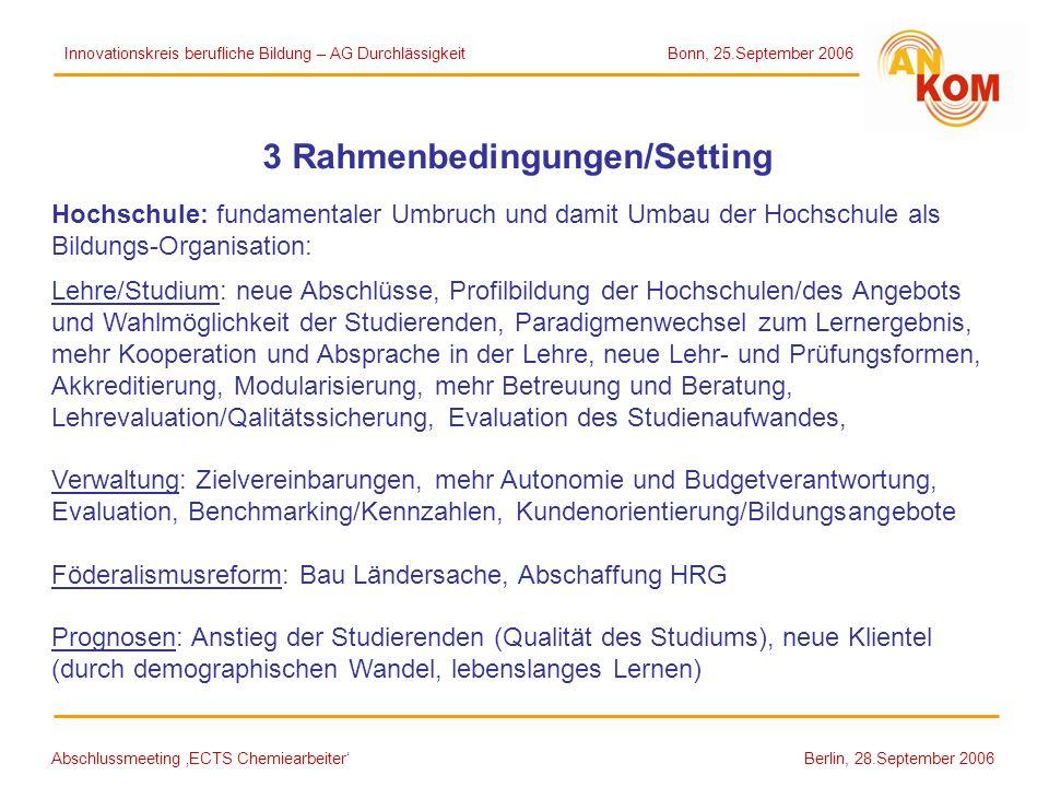 Abschlussmeeting ECTS Chemiearbeiter Berlin, 28.September 2006 3 Rahmenbedingungen/Setting Hochschule: fundamentaler Umbruch und damit Umbau der Hochs