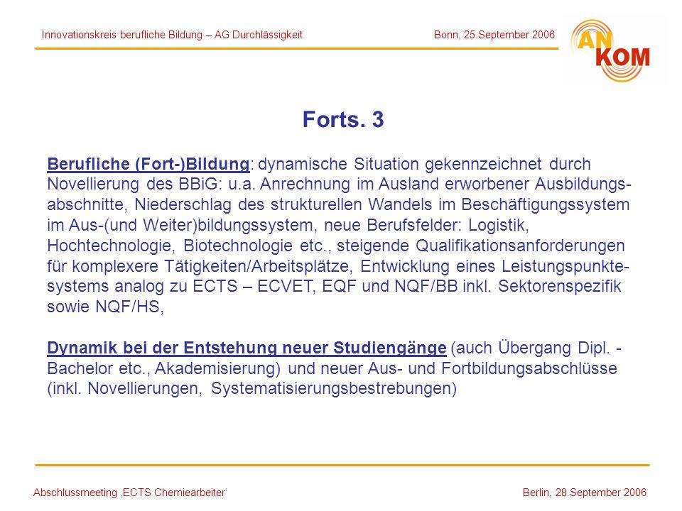Abschlussmeeting ECTS Chemiearbeiter Berlin, 28.September 2006 Forts. 3 Berufliche (Fort-)Bildung: dynamische Situation gekennzeichnet durch Novellier