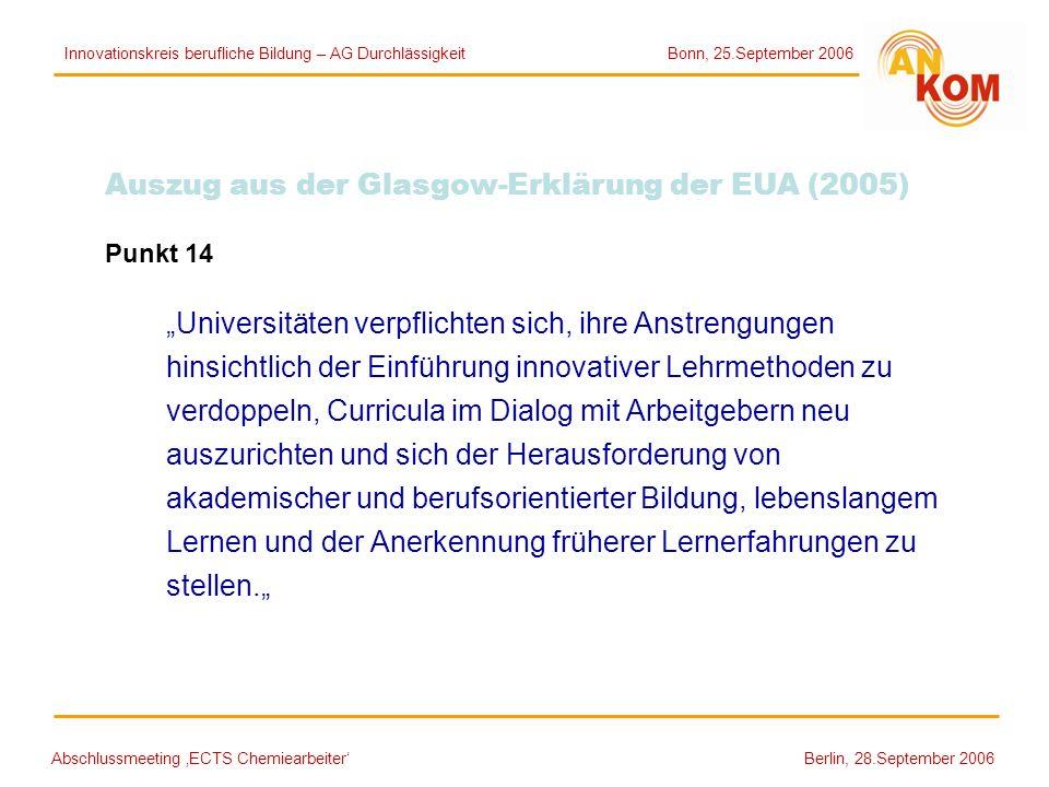 Abschlussmeeting ECTS Chemiearbeiter Berlin, 28.September 2006 Auszug aus der Glasgow-Erklärung der EUA (2005) Punkt 14 Universitäten verpflichten sic