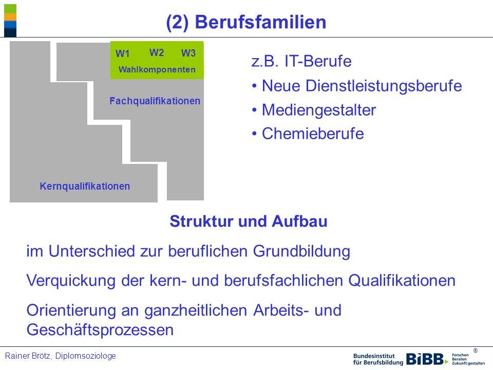 ® Rainer Brötz, Diplomsoziologe (2) Berufsfamilien z.B. IT-Berufe Neue Dienstleistungsberufe Mediengestalter Chemieberufe Kernqualifikationen Fachqual