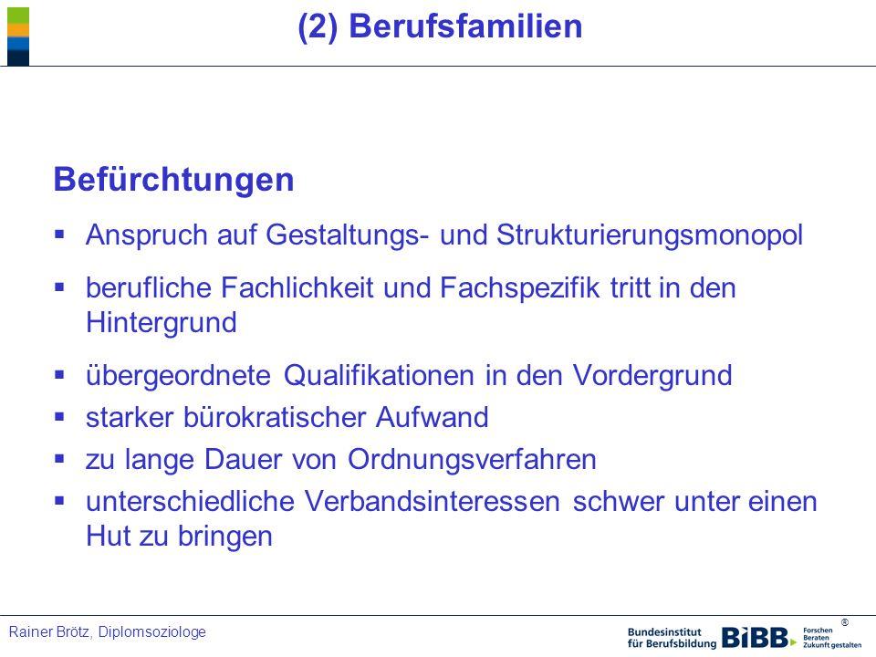 ® Rainer Brötz, Diplomsoziologe (2) Berufsfamilien Befürchtungen Anspruch auf Gestaltungs- und Strukturierungsmonopol berufliche Fachlichkeit und Fach