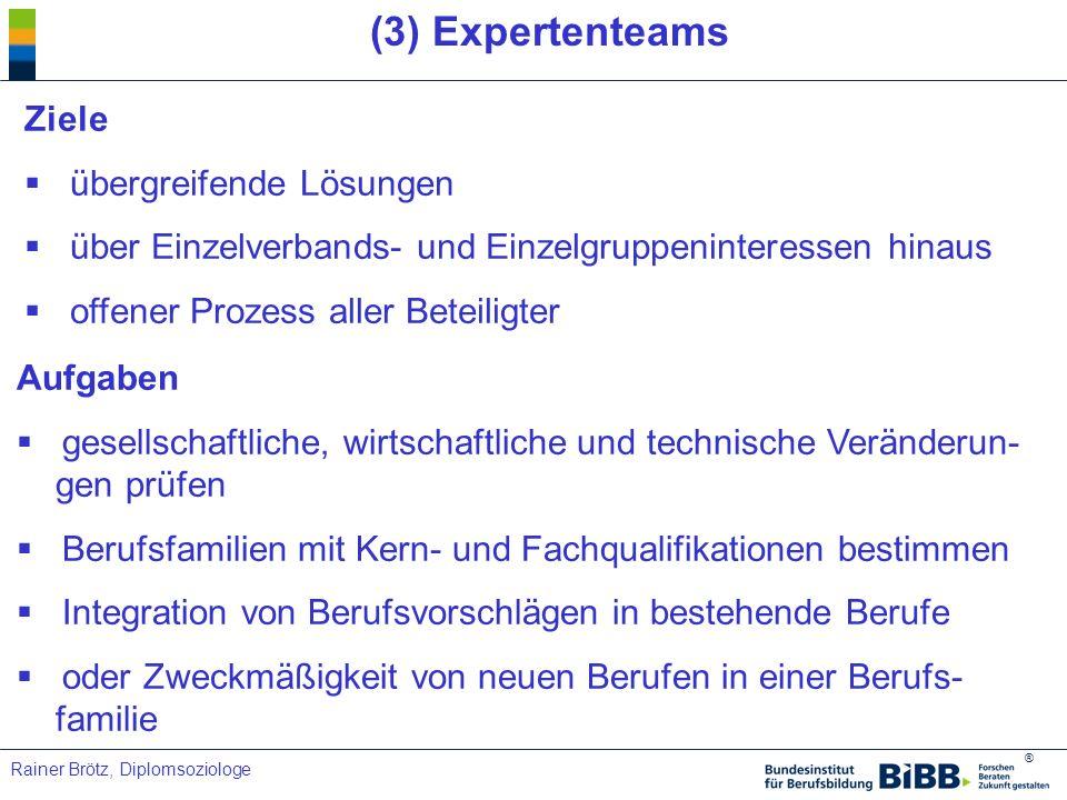 ® Rainer Brötz, Diplomsoziologe (3) Expertenteams Ziele übergreifende Lösungen über Einzelverbands- und Einzelgruppeninteressen hinaus offener Prozess