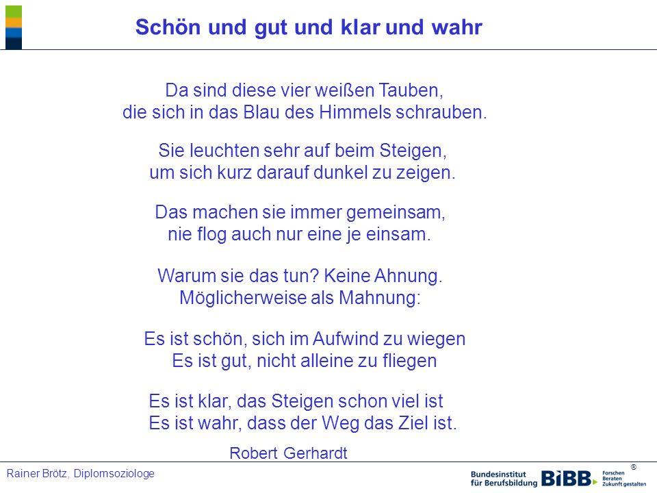 ® Rainer Brötz, Diplomsoziologe Schön und gut und klar und wahr Es ist klar, das Steigen schon viel ist Es ist wahr, dass der Weg das Ziel ist. Robert