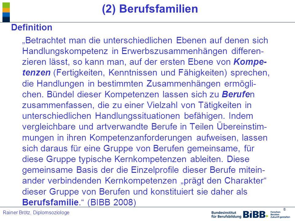 ® Rainer Brötz, Diplomsoziologe (2) Berufsfamilien Definition Betrachtet man die unterschiedlichen Ebenen auf denen sich Handlungskompetenz in Erwerbs