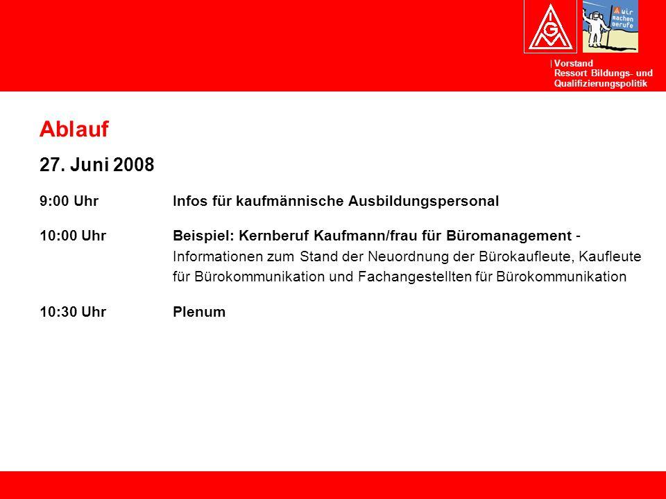 Vorstand Ressort Bildungs- und Qualifizierungspolitik Ablauf 27. Juni 2008 9:00 UhrInfos für kaufmännische Ausbildungspersonal 10:00 UhrBeispiel: Kern