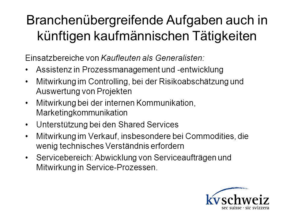 Branchenübergreifende Aufgaben auch in künftigen kaufmännischen Tätigkeiten Einsatzbereiche von Kaufleuten als Generalisten: Assistenz in Prozessmanag