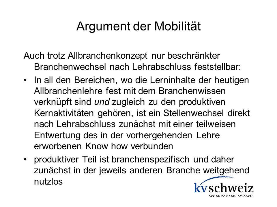 Argument der Mobilität Auch trotz Allbranchenkonzept nur beschränkter Branchenwechsel nach Lehrabschluss feststellbar: In all den Bereichen, wo die Le