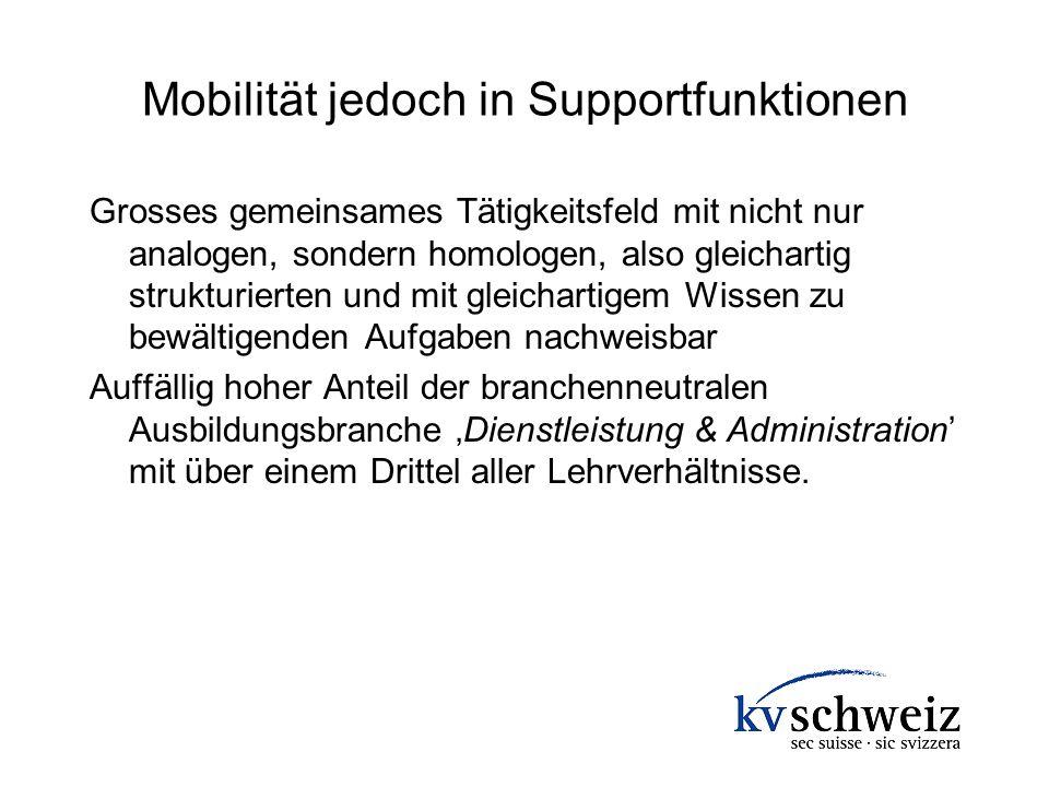 Mobilität jedoch in Supportfunktionen Grosses gemeinsames Tätigkeitsfeld mit nicht nur analogen, sondern homologen, also gleichartig strukturierten un