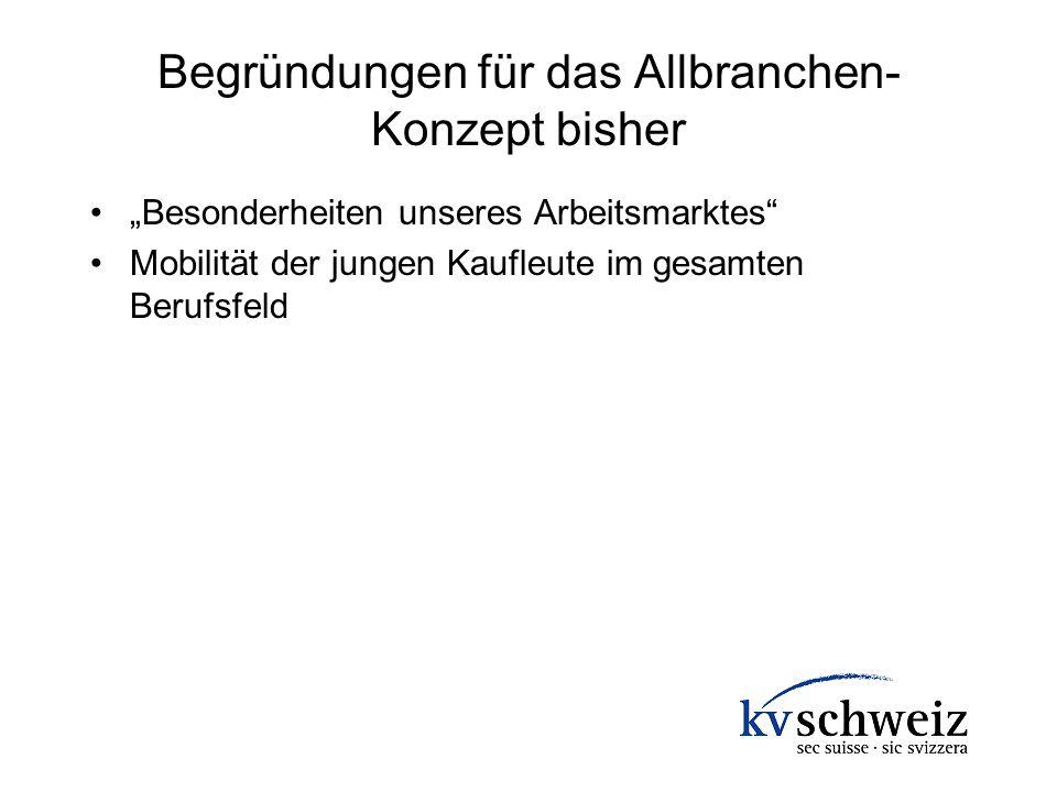 Begründungen für das Allbranchen- Konzept bisher Besonderheiten unseres Arbeitsmarktes Mobilität der jungen Kaufleute im gesamten Berufsfeld