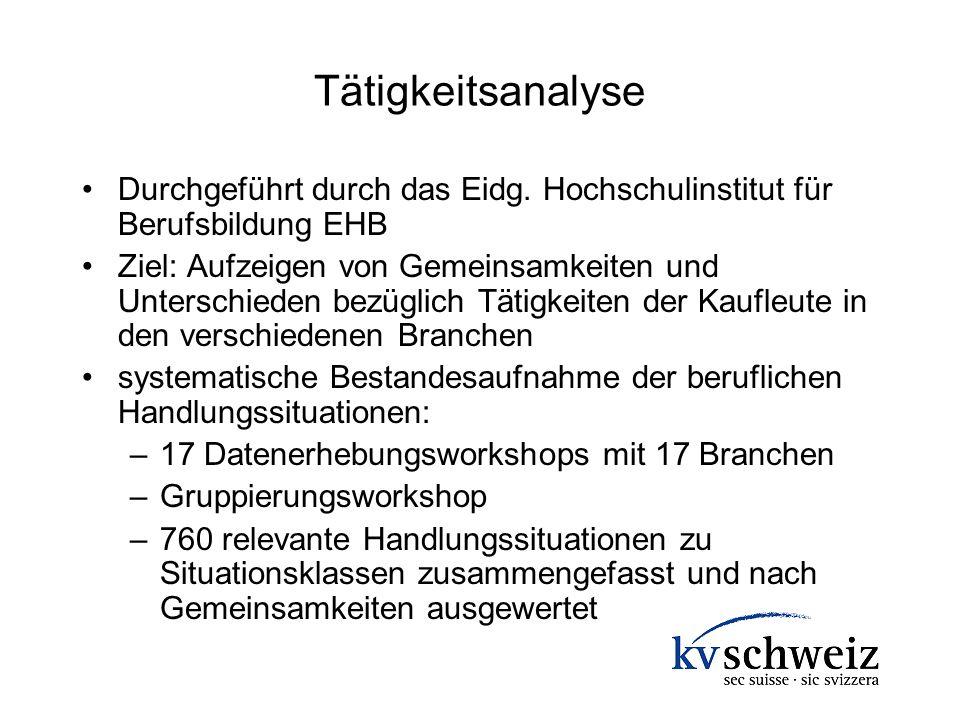 Tätigkeitsanalyse Durchgeführt durch das Eidg. Hochschulinstitut für Berufsbildung EHB Ziel: Aufzeigen von Gemeinsamkeiten und Unterschieden bezüglich