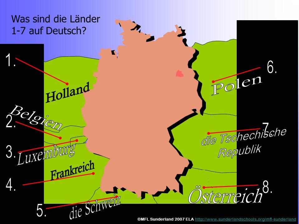 Was sind die Länder 1-7 auf Deutsch.