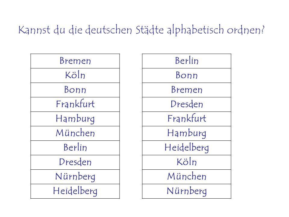 Wie heiβen die Deutschen Städte 1-10.1. 2. 3. 4. 5.