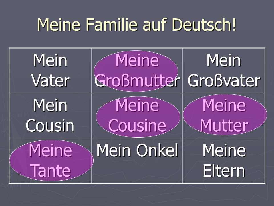 Die Objektiven… By the end of this lesson we will be able to… By the end of this lesson we will be able to… Give a description of different members of our family Give a description of different members of our family Write a family tree for your own family.