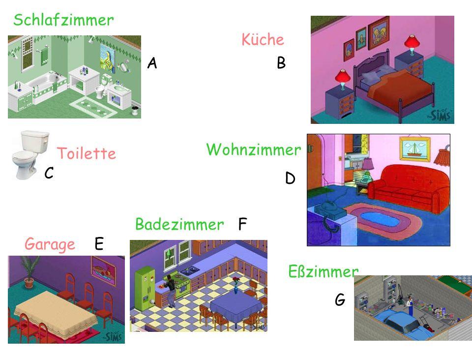 Badezimmer F Schlafzimmer Wohnzimmer D Eßzimmer G Küche Garage E Toilette AB C