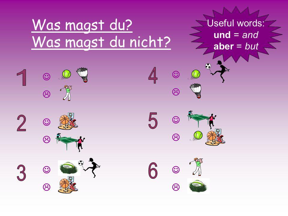 Was magst du? Was magst du nicht? Useful words: und = and aber = but