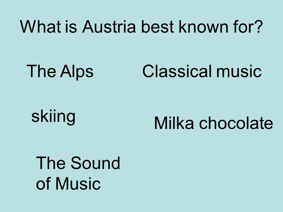 What is Austria best known for? The Alps skiing The Sound of Music Classical music Milka chocolate