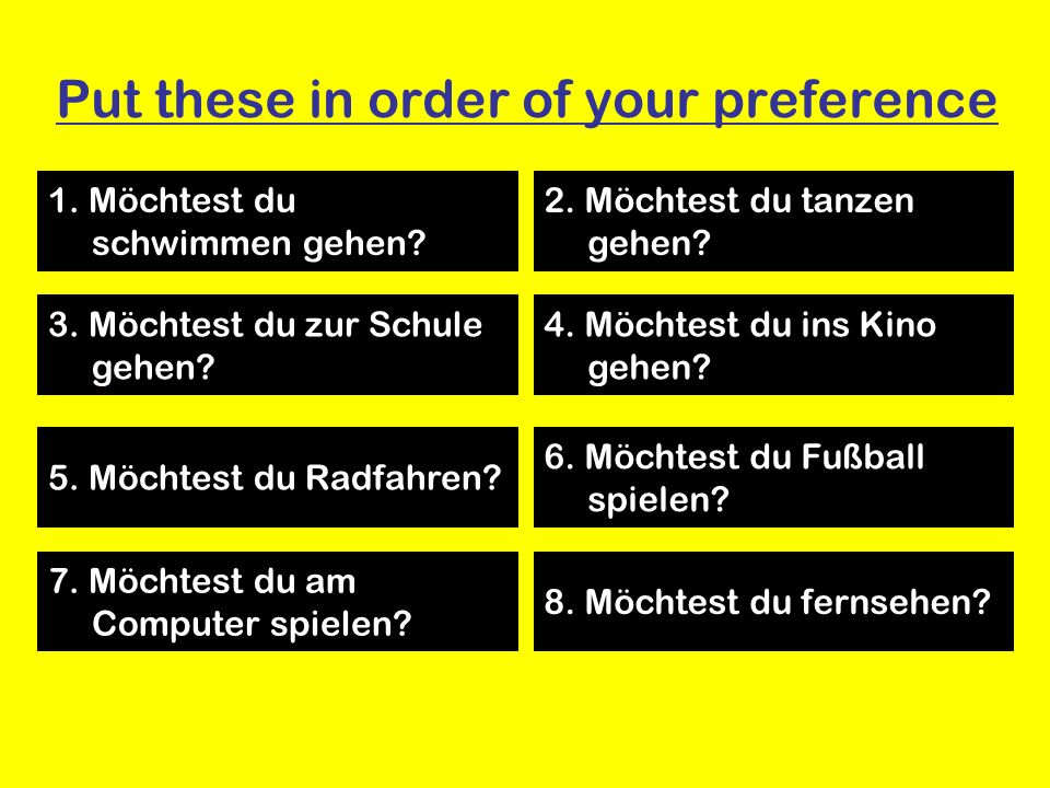 Put these in order of your preference 1. Möchtest du schwimmen gehen.