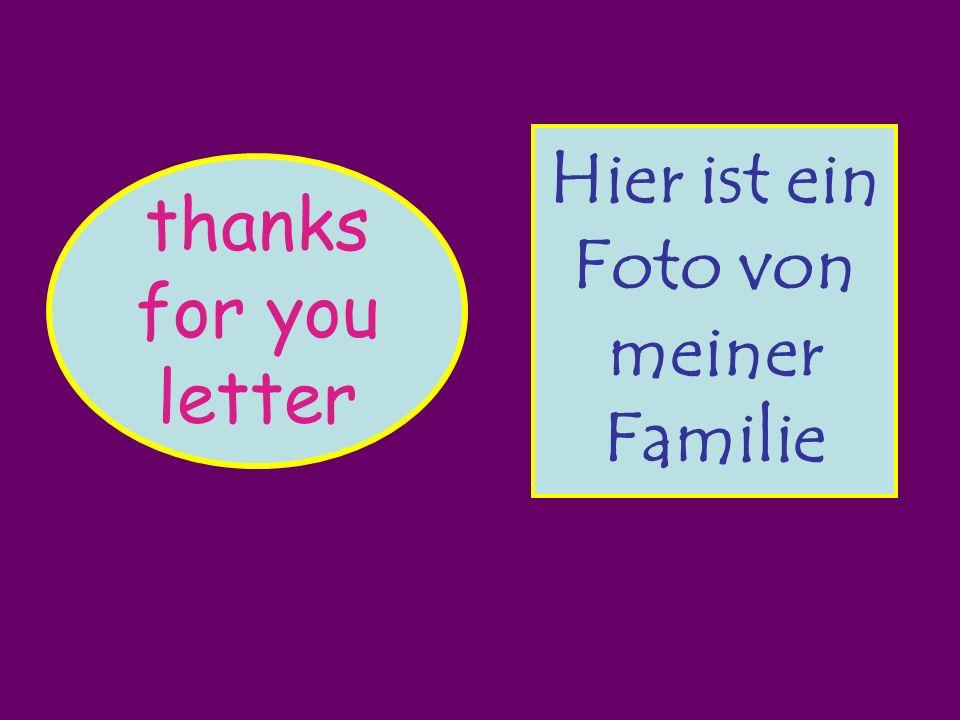 thanks for you letter vielen Dank für deinen Brief Deine Miriam Schreib bald wieder Liebe Kirsty Köln, den 11.