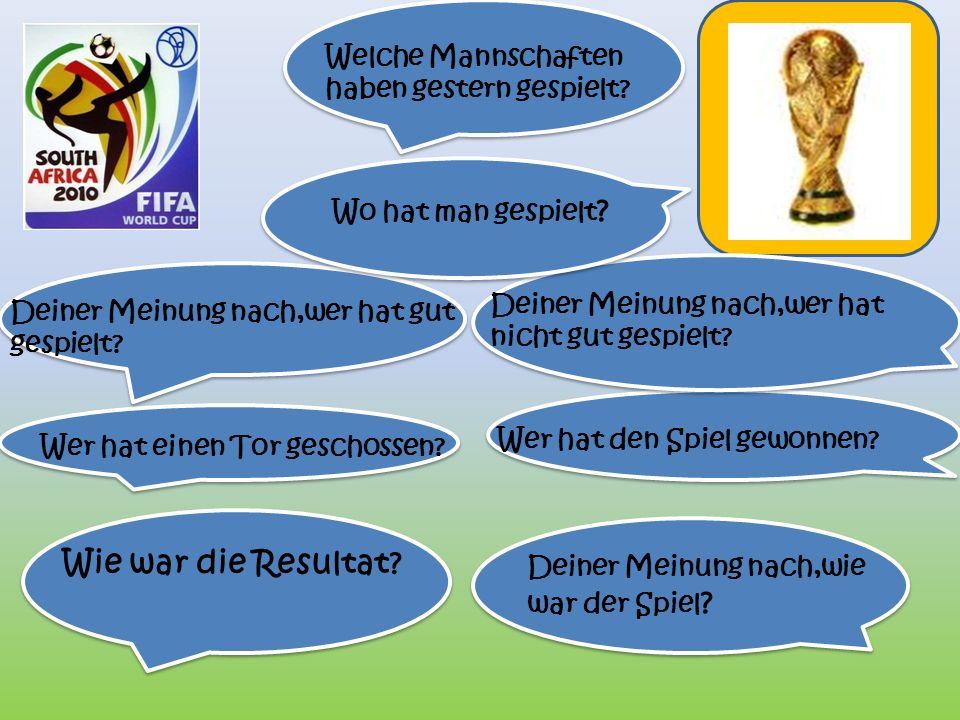 Gestern abend hat Deutschland gegen England im Endspiel der Weltmeisterschaft 2010 gespielt. Man hat den Spiel im Stadium Soccer City in Johannesburg