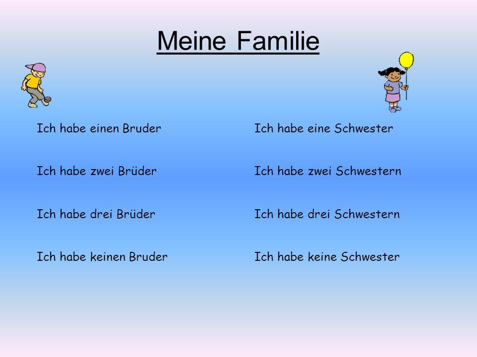 Ich habe einen Bruder Ich habe zwei Brüder Ich habe drei Brüder Ich habe keinen Bruder Ich habe eine Schwester Ich habe zwei Schwestern Ich habe drei