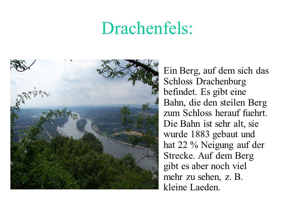 Drachenfels: Ein Berg, auf dem sich das Schloss Drachenburg befindet.
