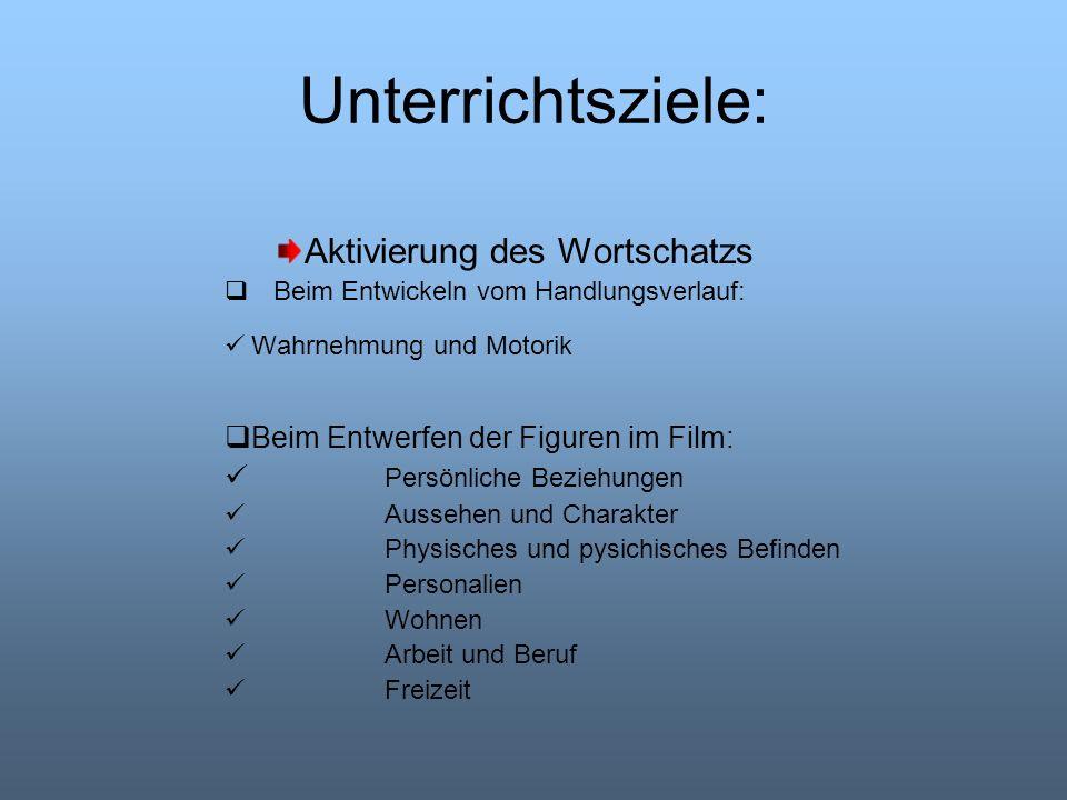 Unterrichtsziele: Aktivierung des Wortschatzs Beim Entwickeln vom Handlungsverlauf: Wahrnehmung und Motorik Beim Entwerfen der Figuren im Film: Persön
