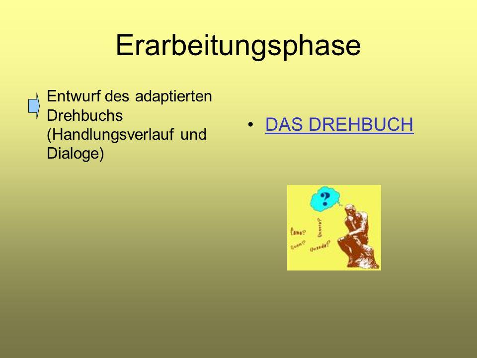 Erarbeitungsphase Entwurf des adaptierten Drehbuchs (Handlungsverlauf und Dialoge) DAS DREHBUCH