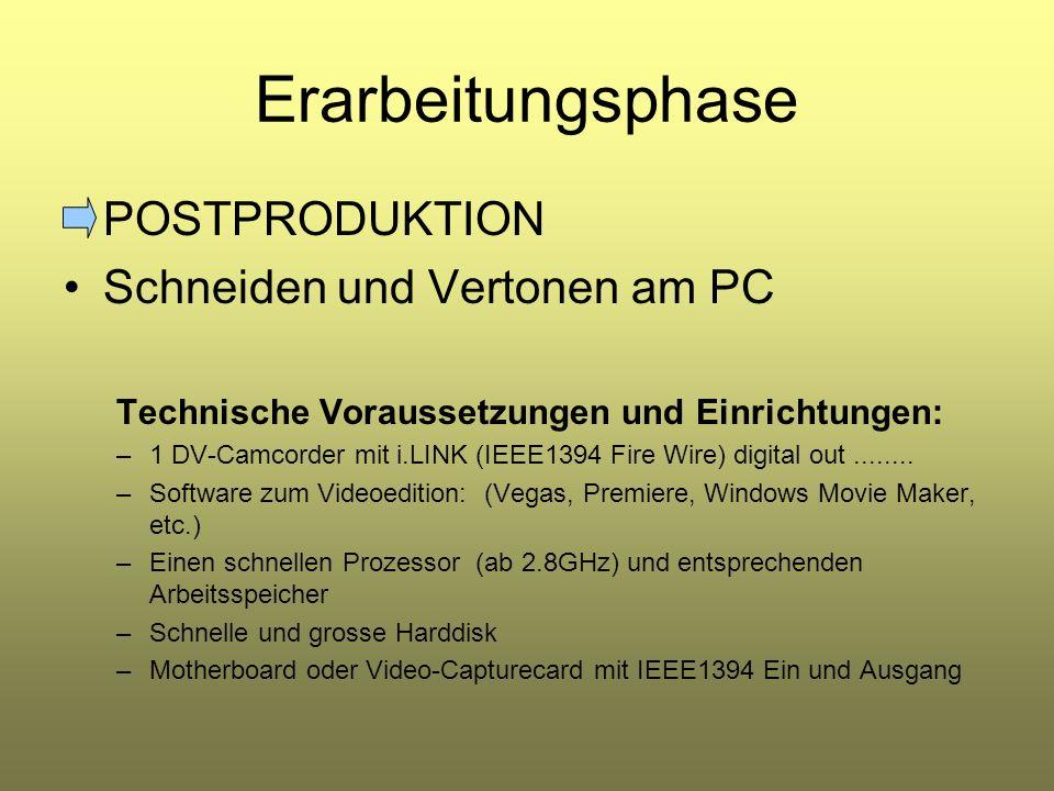Erarbeitungsphase POSTPRODUKTION Schneiden und Vertonen am PC Technische Voraussetzungen und Einrichtungen: –1 DV-Camcorder mit i.LINK (IEEE1394 Fire