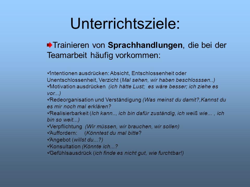 Unterrichtsziele: Trainieren von Sprachhandlungen, die bei der Teamarbeit häufig vorkommen: Intentionen ausdrücken: Absicht, Entschlossenheit oder Une