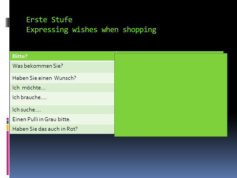 Erste Stufe Expressing wishes when shopping Bitte?Yes? Can I help you? Was bekommen Sie?What would you like? Haben Sie einen Wunsch?Do you have a wish