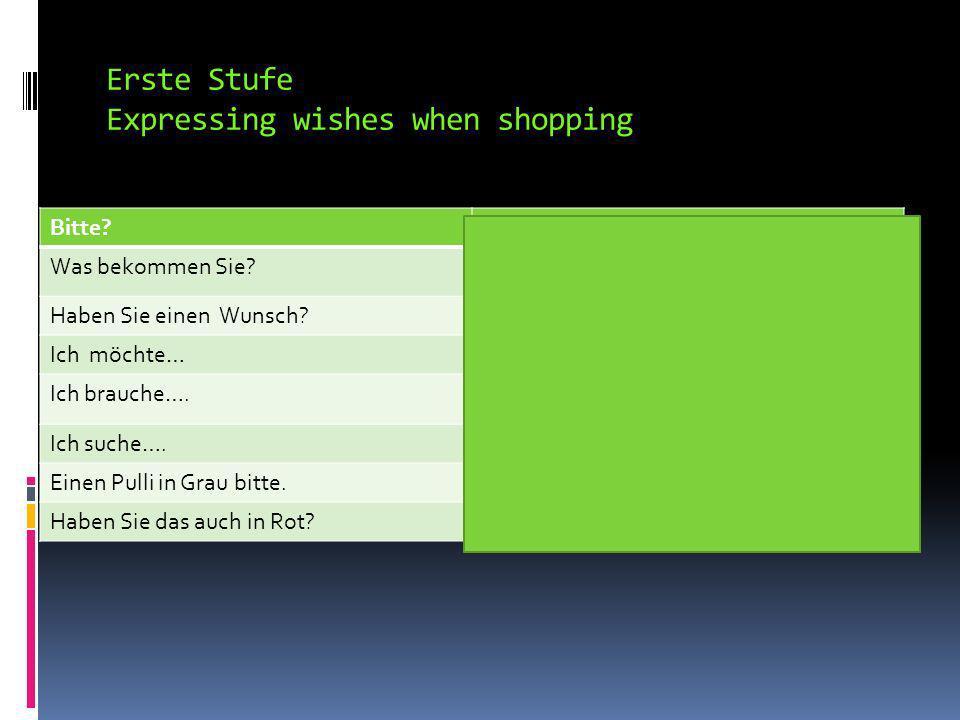 Erste Stufe Expressing wishes when shopping Die Farbe…die FarbenColor/colors In rotIn red In BlauIn blue In GrünIn green In GelbIn yeallow In BraunBrown In SchwarzIn black In WeissIn white