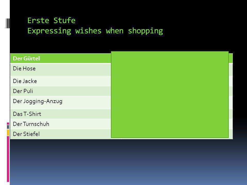 Erste Stufe Expressing wishes when shopping Die SockeSock Die ShortsShorts Denthe Einena, an