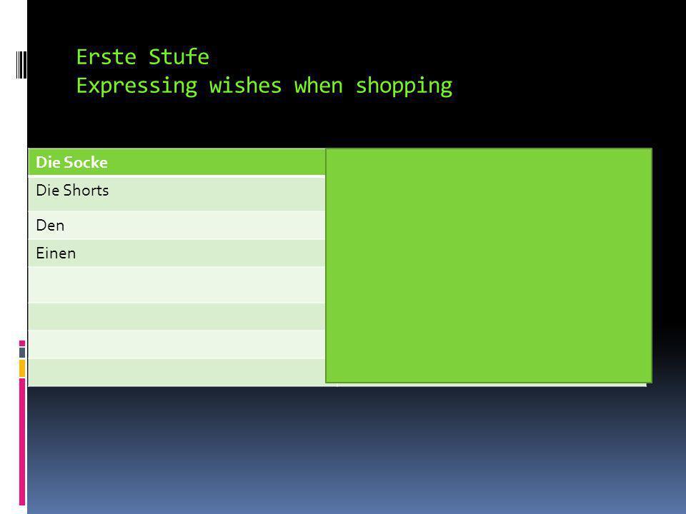 Expressing wishes when shopping Bitte.or Ich möchte eine Jacke, bitte.
