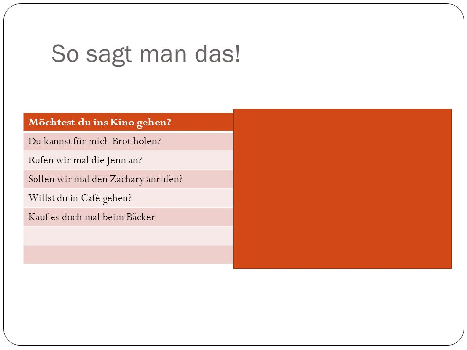 So sagt man das.Möchtest du ins Kino gehen?Would you like to go to the movies.