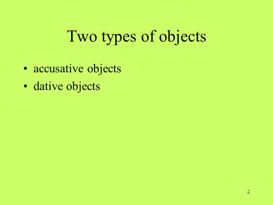 3 Accusative objects NESE (den, die, das, die/ einen, eine, ein, keine) direct object accusative prepositional objects –durch, für, gegen, ohne, um prounouns: ihn, sie, es, sie