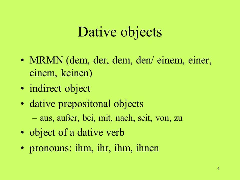 4 Dative objects MRMN (dem, der, dem, den/ einem, einer, einem, keinen) indirect object dative prepositonal objects –aus, außer, bei, mit, nach, seit,